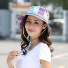Ladies Side Button Foldable Flat Top Bucket Hat Sun Cap Headwear with Wind Rope