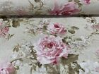 "Vintage Linen Pettie Faded Rose Pink/Red 140cm/54"" Curtain/Craft Fabric"