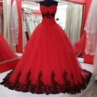 Red Tulle Quinceanera Dresses Lace Prom Party Ball Gown Sweet 16 Wedding Dress