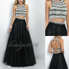 New Two Pieces Black Prom Party Evening Formal Gown Backless Pageant Dresses