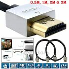 Ultra Slim HDMI Cable Ethernet Lead Metal Ends/Gold Plated HD TV LCD LED Plasma