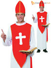 Mens Bishop Costume Adult Holy Cardinal Pope Priest Fancy Dress Religious Outfit