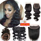7A 100% Virgin Human Hair Frontal Lace Closure 360 Pre Plucked Brazilian UK A436