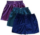 Mens Thai Silk Boxer Shorts 3 Pairs Purple, Navy, Dark Blue Underwear M L XL 2XL