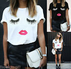 US Fashion Womens Plus Size T-shir Charming Eyes Lips Printed Top Blouse T-shirt