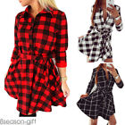 Women's Bodycon Big Check Grid Long Sleeve Casual Shirt Dress Waist Strap HX
