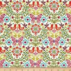 PAPILLION BUTTERFLY BIRD FLORAL WHITE ANDOVER QUILT SEWING FABRIC *Free Oz Post