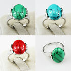 Turquoise Gemstone Fashion Unique Jewelry Silver Plated Men Women Ring Size 6-10
