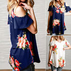 Newly Women Cold Shoulder Floral Shirt Summer Blouse Casual Tops Loose T Shirt