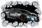 Huge 3D Bugatti Crashing through wall View Wall Sticker Mural Decal Film 5
