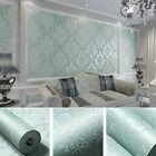 New 10m Non-woven Damask Textured Embossed Modern Luxury Flocking Wallpaper Roll
