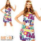 Groovy Hippie Ladies Fancy Dress 1970s 70s Peace Hippy Womens Adults Costume New