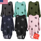 Hot Women Plus Batwing Sleeve Blouse Stars Print Baggy Tunic Top Pullover Shirt