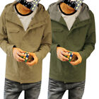 Mens Stylish Button Closurfe Front Zip Up Hoodie Casual Jacket