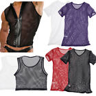 Mens Mesh Muscle Comfy Sheer Vest Short Sleeve T-Shirt Tank Top Underwear V-Neck
