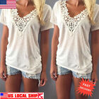 Women's Summer Vest Top Lace Short Sleeve Blouse Casual Loose Tank Tops T-Shirt