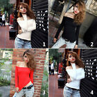 Women College Off Shoulder Boat Neck Top Long Sleeve Shirt Casual Party Blouse