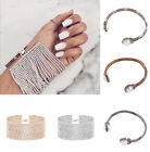 HOT Women Girl  Punk Jewelry Crystal Leather Rope Cuff Bangle Charm Bracelet