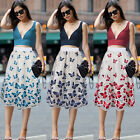 Womens Butterfly Lace Stretch High Waist Casual Work Party A-Line Skater Skirt