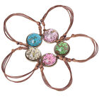 Dried Flower Blossoms In Glass Gem DIY Woven Bracelet For Women Gril