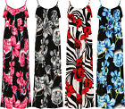 Plus Womens Strappy Sleeveless Long Maxi Dress Ladies Floral Print Stretch New