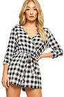 Womens Gingham Checked Plunge V-Neck Playsuit Ladies Hot Pants Up Long Sleeve