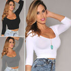 CH Women's Round Neck Long Sleeve Crop Tops Short Casual Blouse Shirt Clubwear