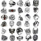 Fashion Stainless Steel Silver Men Punk Biker Skull Ring US Size 7-20 40STYLES A
