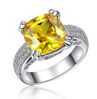 18k White Gold Plated Made with Swarovski Crystal Pink Yellow Stone Ring R112