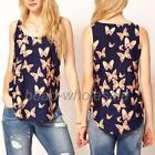 Girls' Women's Butterfly Print Tank Top Vest Chiffon Blouse Sleeveless T-shirt