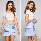 Women Casual Ruffle Striped Embroidery Floral Band Asymmetry Hem Skirt DZ8801