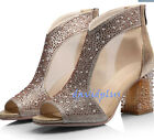 Stylish Women Sequins  Bling Bling Celebrity Peep Toe Block Chunky Shoes Zipper