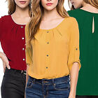 CHIC Fashion Women Loose Long Sleeve Chiffon Casual Blouse Shirt Tops Blouse New