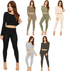 Womens Crop Top Leggings Co-ord Plain Basics Stretch Long Sleeve Ladies Pants