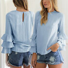 CHIC Fashion Womens Summer Long Sleeve Shirt Casual Blouse Loose Cotton T Shirt