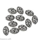 Wholesale Lots Charms Antique Silver Plastic Beads Oval Flowers Jewelry Findings