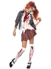 High School Horror Zombie Schoolgirl Blood Stained Scary Halloween Costume