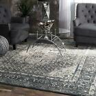 blue and gray rug - nuLOOM Traditional Vintage Medallion Area Rug in Dark Gray and Blue