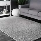 nuLOOM Hand Made Contemporary Modern Braided Wool Area Rug in Light Grey