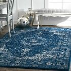 nuLOOM Traditional Oriental Distressed Persian Area Rug in Dark Blue