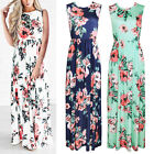 Women Floral Print Sleeveless Boho Dress Lady Evening Party Long Maxi Dress USA