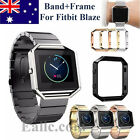 Replacement Stainless Steel Stripe Band Wrist Strap+Metal Frame For Fitbit Blaze