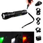 White Green Red LED Tactical Flashlight Remote Switch Picatinny Rail Mount