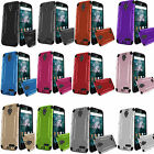 For ZTE ZMAX Champ Z917VL Combat Brushed Metal HYBRID Rubber Case Phone Cover