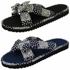LADIES SPOT ON FLAT FABRIC MULE IN BLACK/WHITE & NAVY/WHITE STYLE - SAMANTHA
