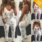 Women 2 Piece Floral Outfit Spaghetti Strap Top Paper Pants Set Jumpsuit Romper