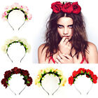 Rose Flower Crown  Wedding Festival Bridal Garland Hairband Double Row EW