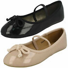 Girls Spot On Synthetic Patent Dolly Shoe - H2429