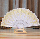 Hot Chinese Style Dance Wedding Party Lace Silk Folding Hand Held Flower Fan