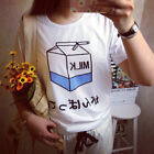 NEW! Women Summer Harajuku Cute Soft Milk Print Loose T-Shirts Basic Tee Tops EW